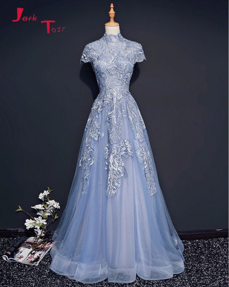 Jark Tozr Custom Made China Online Shop High Neck Short Sleeve Zipper Up Lace Tulle Formal Evening Dresses 2018 Vestido De Festa