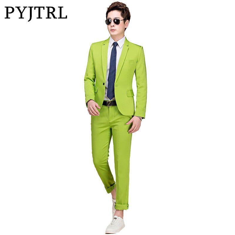 PYJTRL M-5XL Flut Männer Bunte Mode Hochzeit Anzüge Plus Größe Gelb Rosa Grün Blau Lila Anzüge Jacke und Hose Smoking