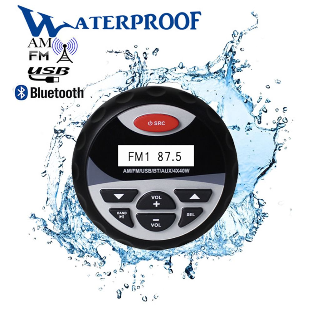 Marine Waterproof Bluetooth Stereo Radio Audio FM AM Receiver MP3 Player Sound System AUX USB For Motorcycle Boat SPA UTV ATV