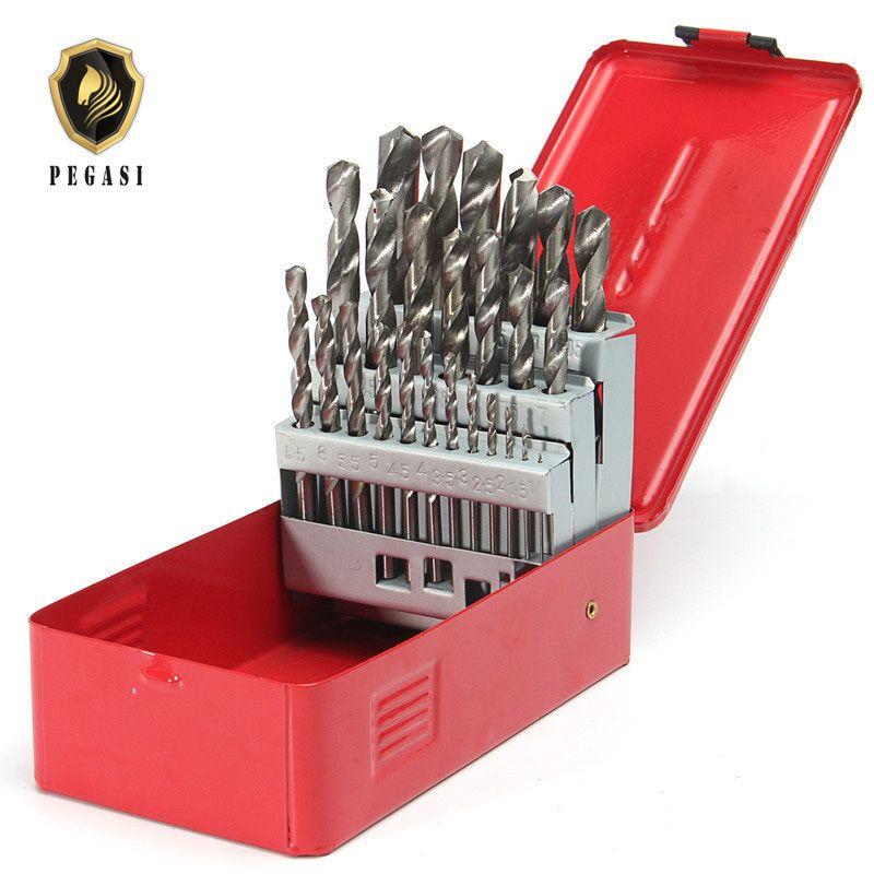 PEGASI High Quality 25Pcs 1-13mm Twist Drill Bit Set HSS High Speed Steel Wood Drilling Kit Metal Metric Power Tool
