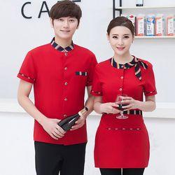 Hotel Seragam Pelayan Restoran Kantin Overall Pakaian Kerja Musim Panas Lengan Pendek Gadis Kemeja Pelayan Pelayan Sesuai J073