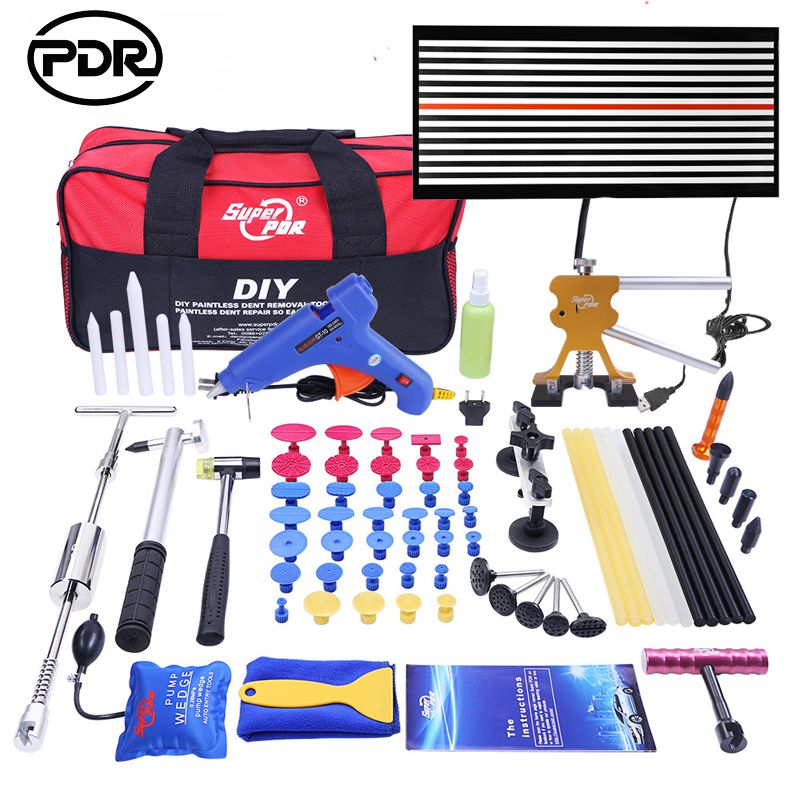 PDR Tools Dent Removal Paintless Dent Repair Tools LED Lamp Reflector Board Dent Puller Hand Tool Set PDR kit Ferramentas