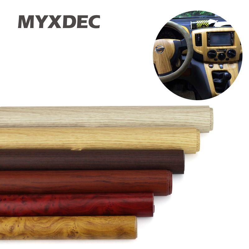 122*30 CM auto-adhésif vinyle Grain de bois texturé voiture Wrap voiture autocollants internes papier peint meubles bois Grain papier Film