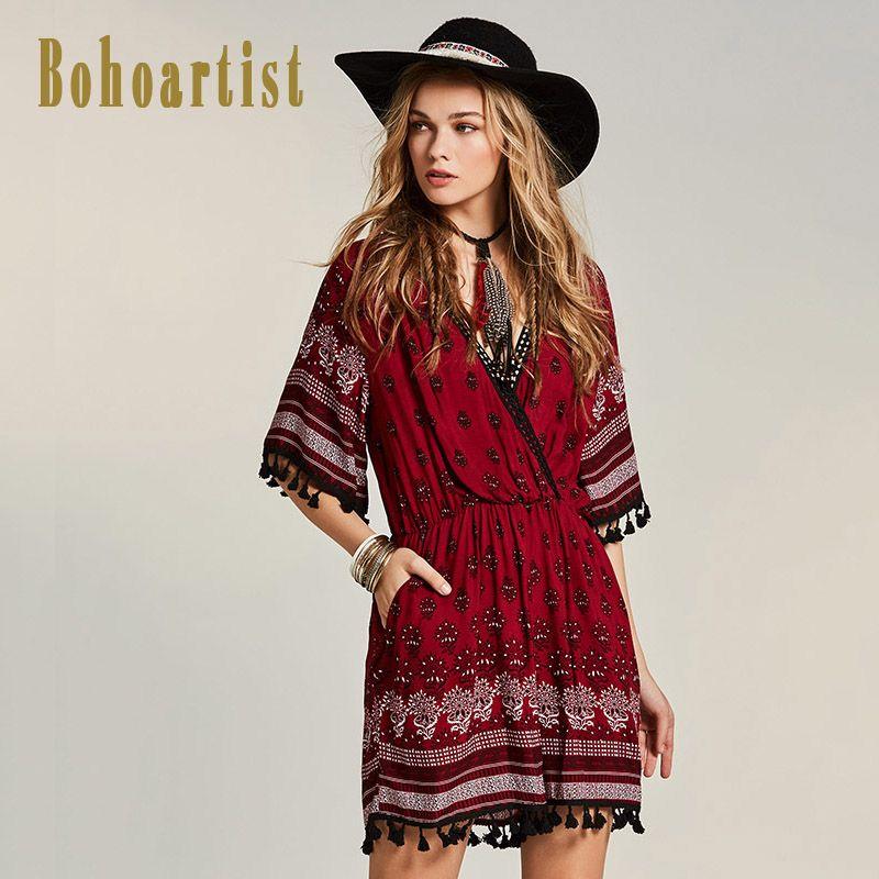 Bohoartist Для женщин красный комбинезон в стиле пэчворк Цветочный принт Глубокий V Средства ухода за кожей Шеи широкие брючины короткие комбине...