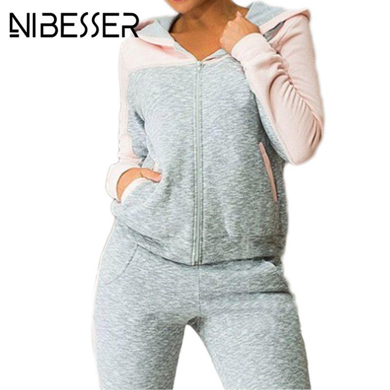 Nibesser Sportsuit Дамская мода повседневные флисовые с капюшоном спортивная куртка лоскутное Sweat Pant костюм комплект из двух предметов комплект оде...
