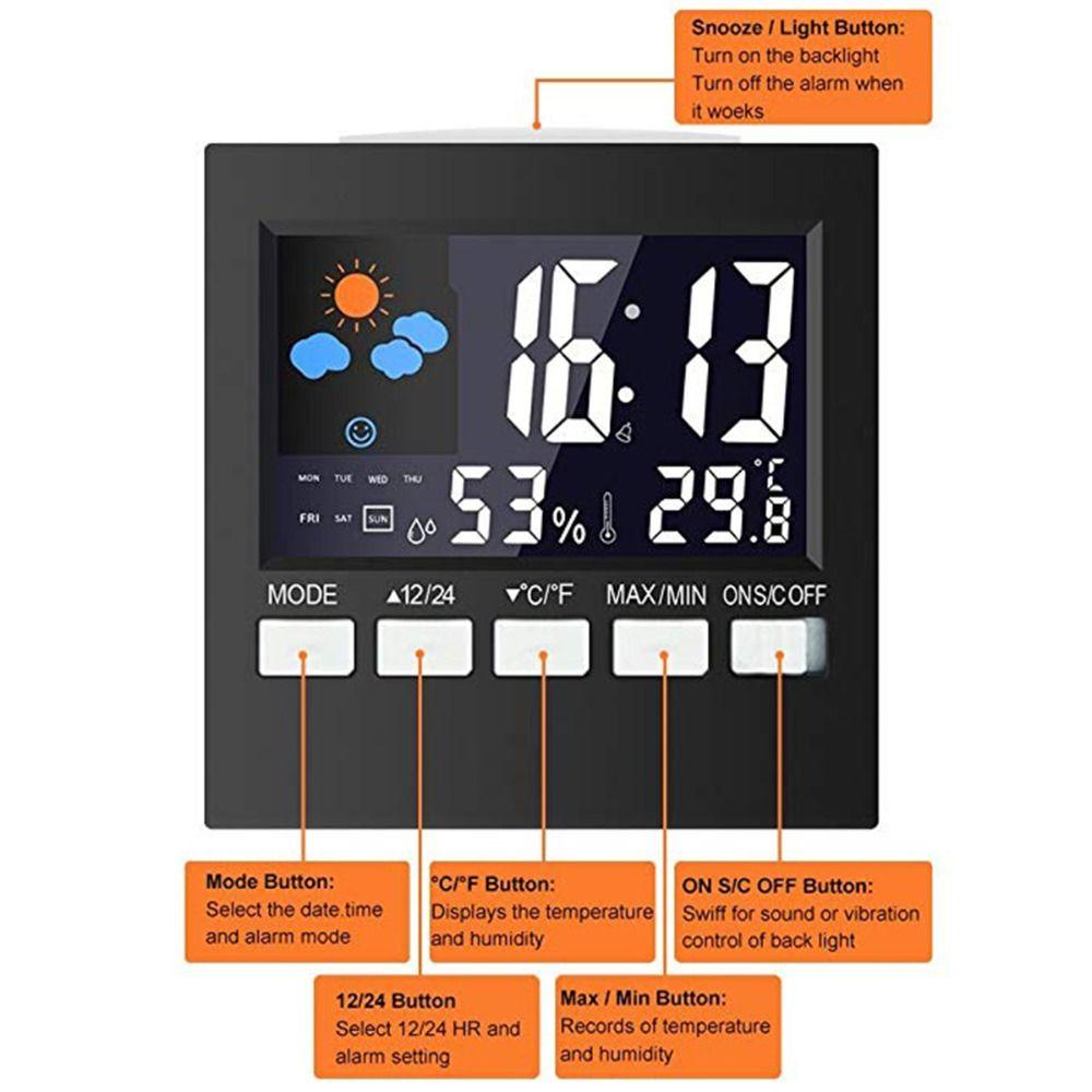 LCD Digital LED Wecker Wetter Temperatur Feuchtigkeit Reise Hintergrundbeleuchtung Elektronische Uhr Snooze Funktion Schreibtisch Tisch Uhr