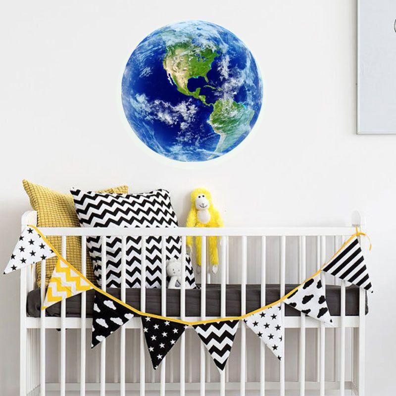 1 STÜCKE New Luminous mond blue earth Cartoon DIY 3d Wand aufkleber für kinderzimmer schlafzimmer wandaufkleber wohnkultur Wohnzimmer zimmer