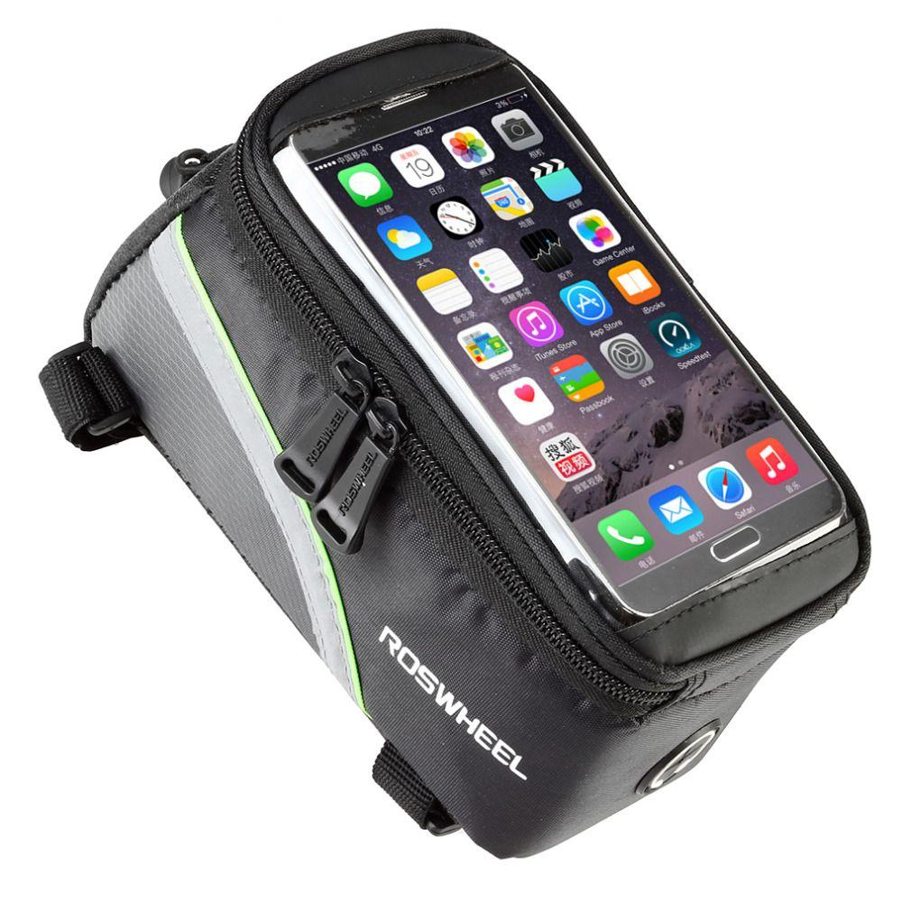 ROSWHEEL 4,8 5,7 Radfahren Fahrrad taschen packtaschen Rahmen Vorne Rohr Tasche Für Handy MTB Bike Touchscreen Tasche freies verschiffen