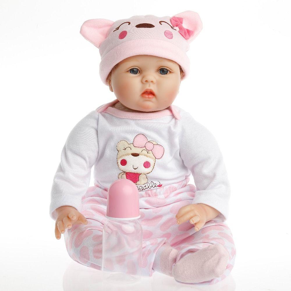 SanyDoll Heißer Neue Reborn Silikon Baby Puppe baby kinder spielzeug Magnet Schnuller 22 zoll 55 cm Schöne rosa baby bär puppe