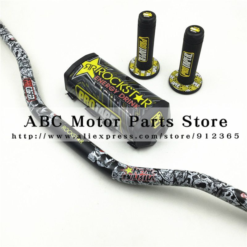 Rockstar Handlebar Pads PRO Taper Handle Grips Metal Mulisha Pack Fat Bar 1-1/8
