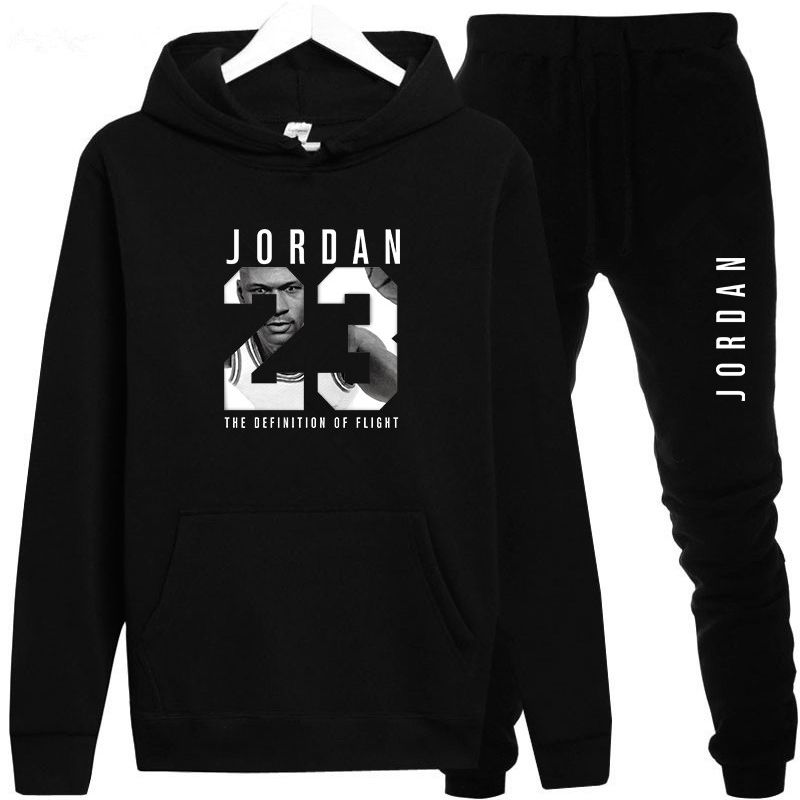 New 2018 Brand Tracksuit Fashion JORDAN 23 Men Sportswear Two Piece Sets All Cotton Fleece Thick hoodie+Pants Sporting Suit Male