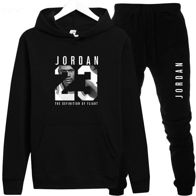 New 2018 Brand Tracksuit Fashion JORDAN 23 Men Sportswear Two Piece Sets All Cotton Fleece Thick hoodie+Pants Sporting Suit Male
