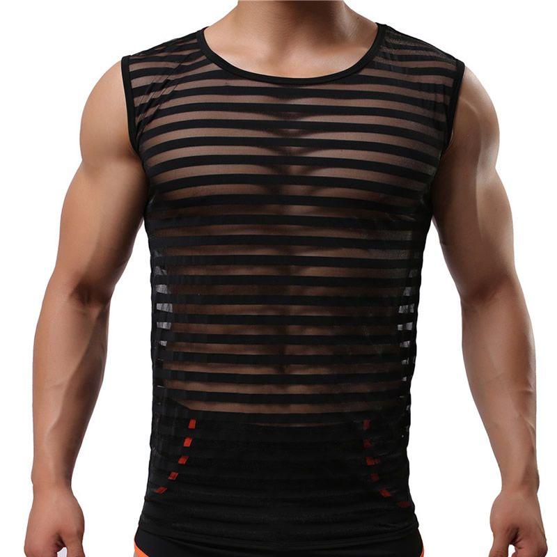 Nouveau mode mousseline de soie maille Transparent hommes Sexy Fitness musculation rayures réservoir hauts/Gay sans manches Singlets/gilet Transparent