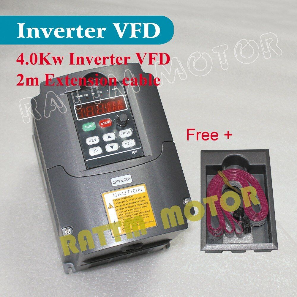 EU Delivery!!! 220V 4KW Variable Frequency Drive VFD Inverter 5HP 18A Speed controller for Spindle Motor+2M able+Plastic holder