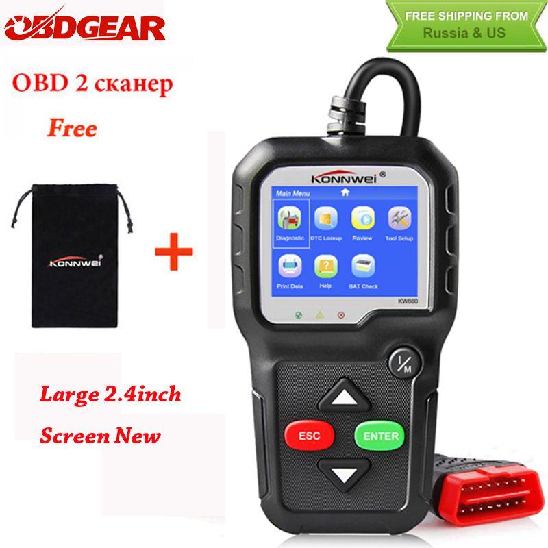 2018 Best OBD2 Car Diagnostic Scanner KONNWEI KW680 Full OBD2 Function OBD2 Autoscanner Multi-language OBD2 <font><b>Automotive</b></font> Scanner