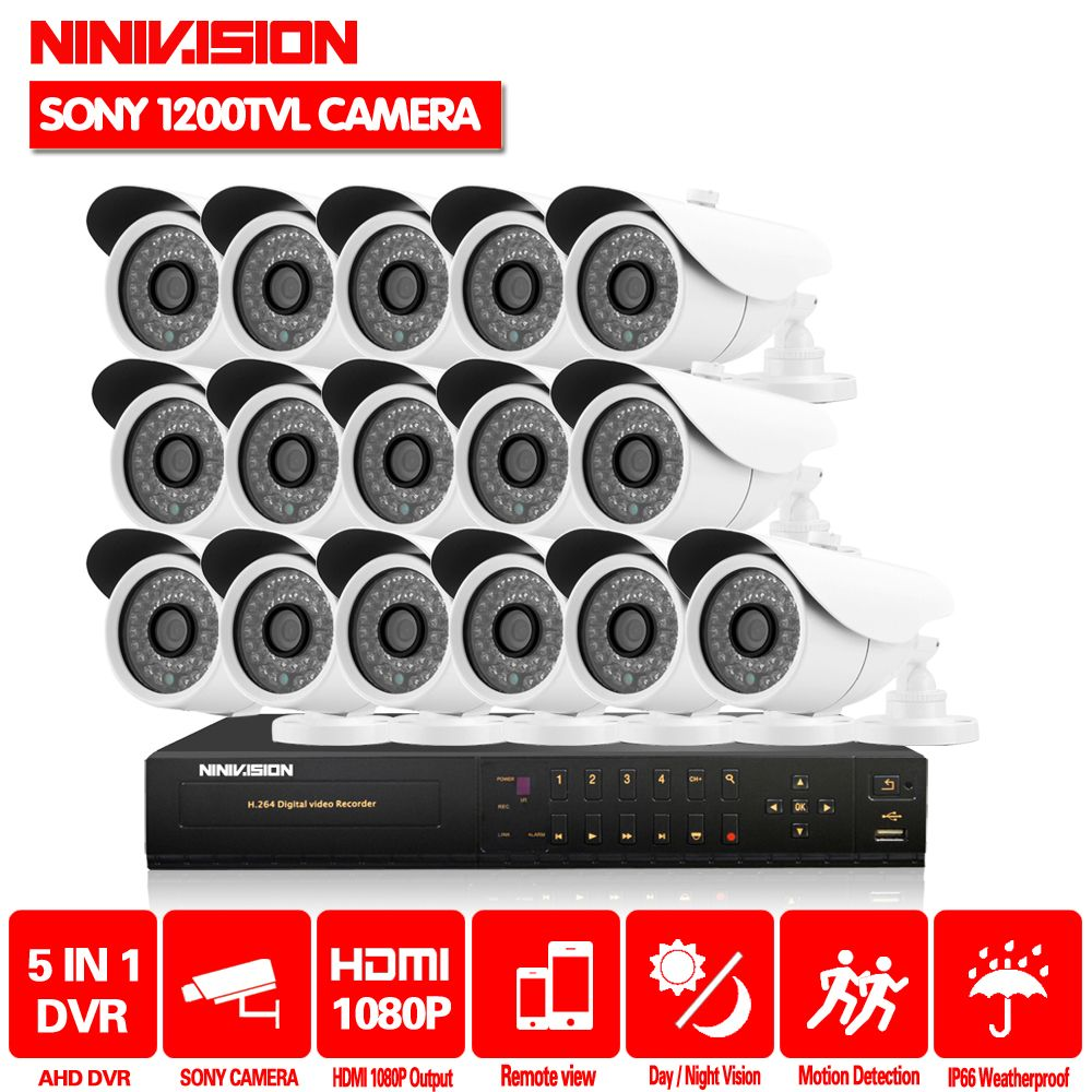 HD 16 kanal 1080 p AHD DVR kit Video überwachung kamera Sicherheit outdoor Indoor 1MP 1200TVL CCTV System 16CH DVR system