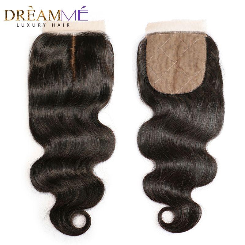 Fermeture brésilienne de Base de vague de corps en soie fermeture supérieure en soie avec des cheveux de bébé noeuds cachés fermeture de cheveux humains Dreamme Remy cheveux