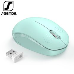 SeenDa Noiseless 2.4G Wireless Mouse Portable Optical Mice for Notebook PC Laptop Mini Silent Mouse 1600DPI Ergonomic Vertical