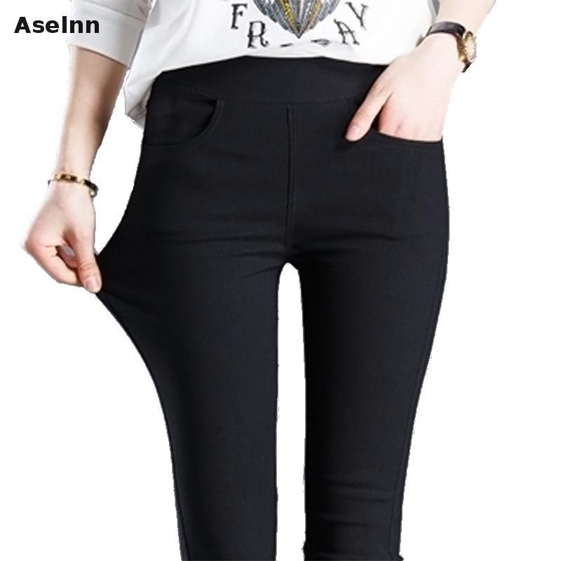 Aselnn 2017 Printemps Nouveau Mode Femmes Crayon Pantalon Casual Taille Élastique Maigre Pantalon Plus La Taille Noir Blanc Stretch Pantalon