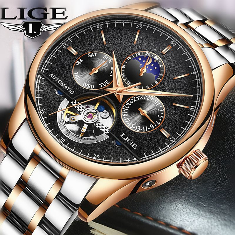 LIGE Brand Men watches Automatic mechanical watch tourbillon Sport clock leather Casual business wristwatch Man relojes hombre