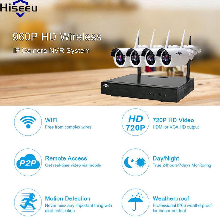 Hiseeu NVR Kit Ip-kamera 4CH Leistungsstarke wifi NVR 960 P drahtlose CCTV System Home Security System Kit Überwachung CCTV Kamera 48