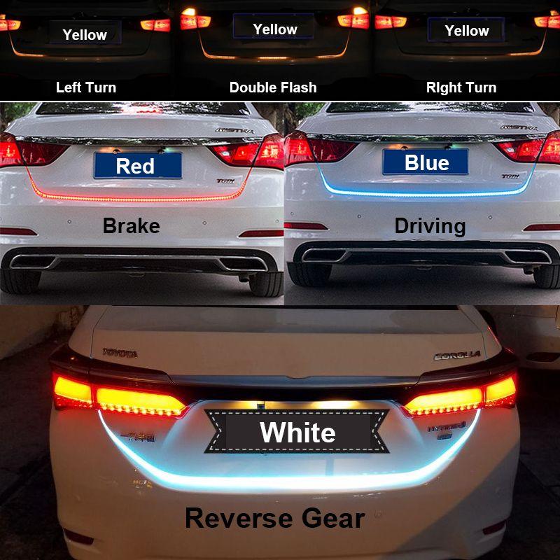 Glace Bleu Rouge Jaune Blanc LED Bande D'éclairage Arrière Tronc Feu arrière Dynamique Streamer De Frein Clignotants Inverse Led Avertissement lumière