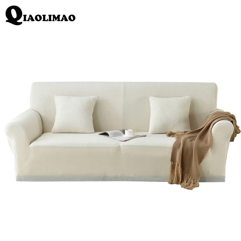 Weiß Stretch Spandex einzelsitz/sitz/Schnittsofabezug einfarbig Funda Sofa Sofa-belegabdeckung Capa de Sofa Canape