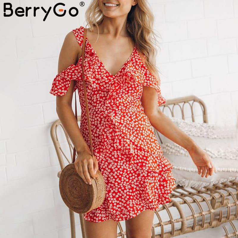 BerryGo Sexy V neck floral print mini dress Ruffle frill strap short summer dress Backless <font><b>cold</b></font> shoulder beach vestido de festa