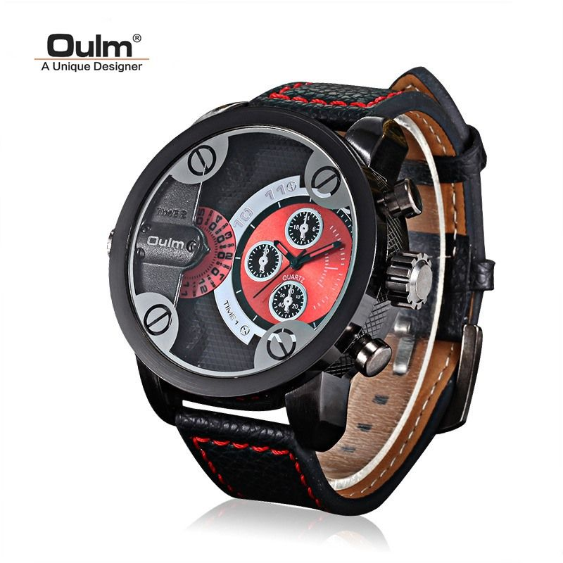 Tearoke OULM Для мужчин часы кварцевые часы мужской часы Военная Униформа наручные часы Топ Элитный бренд Часы Для мужчин кожаный ремешок большо...