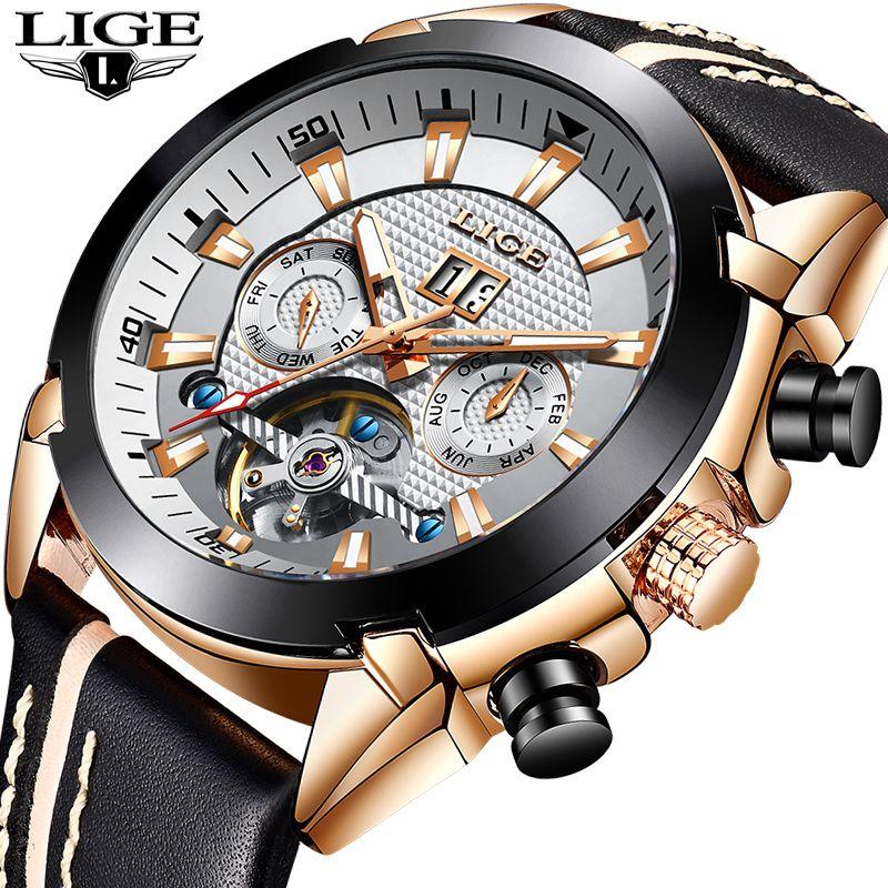 LIGE Männer Uhr Original Luxus Marke Tourbillon Automatische Mechanische Uhren Mode Leder Business Uhr Relogio Masculino