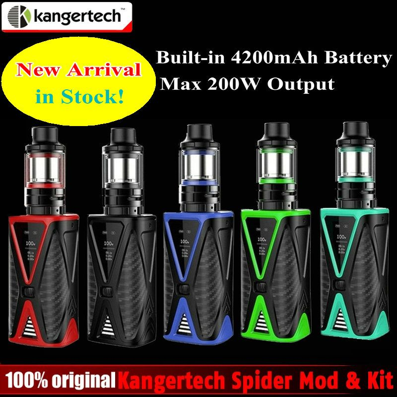 Ursprüngliche Kangertech Spinne 200 Watt TC Kit mit Gebaut In 4200 mAh Batterie 200 Watt Box Mod & 4 ml FÜNF 6 Mini Tank Kanger e-zigarette Kit