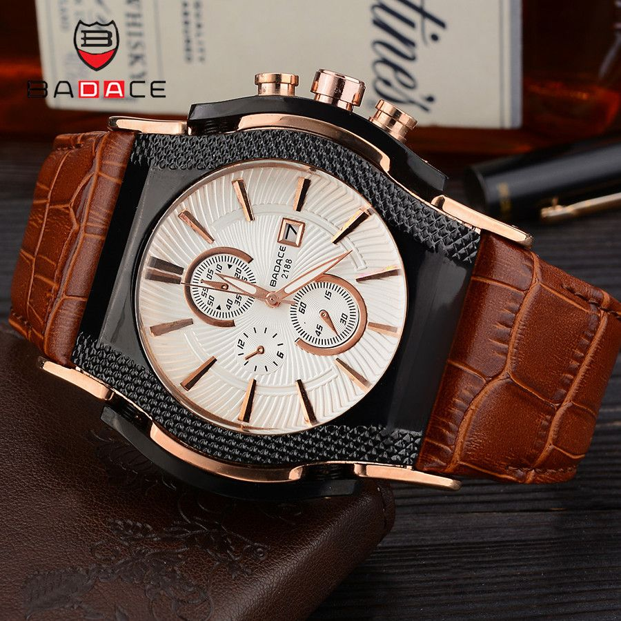 BADACE Luxury Top Brand Quartz Watches Mens Date Display Watch Men Hours Leather Strap Sport WristWatch Relogio Masculino 2188