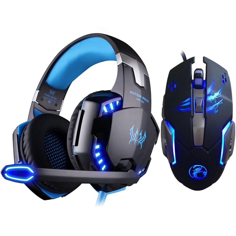 Chaque casque de jeu stéréo G2000 pour PS4 Deep Bass casque d'écoute de jeu d'ordinateur avec micro de lumière LED + 3200PDI Pro souris de jeu