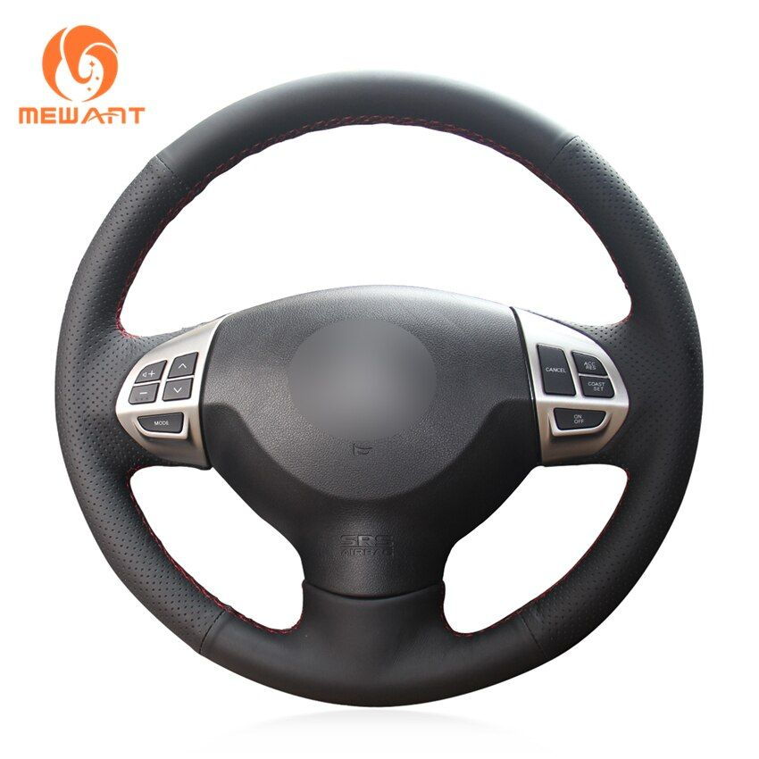 MEWANT Black Artificial Leather Steering Wheel Cover for Mitsubishi Lancer X 10 2007-2015 Outlander 2006-2013 ASX 2010-2013
