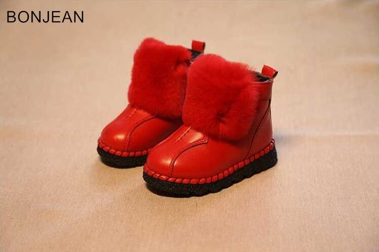 fast shipping 2018 Winter children's round head children's leather boots warm girl's cotton boots 2654