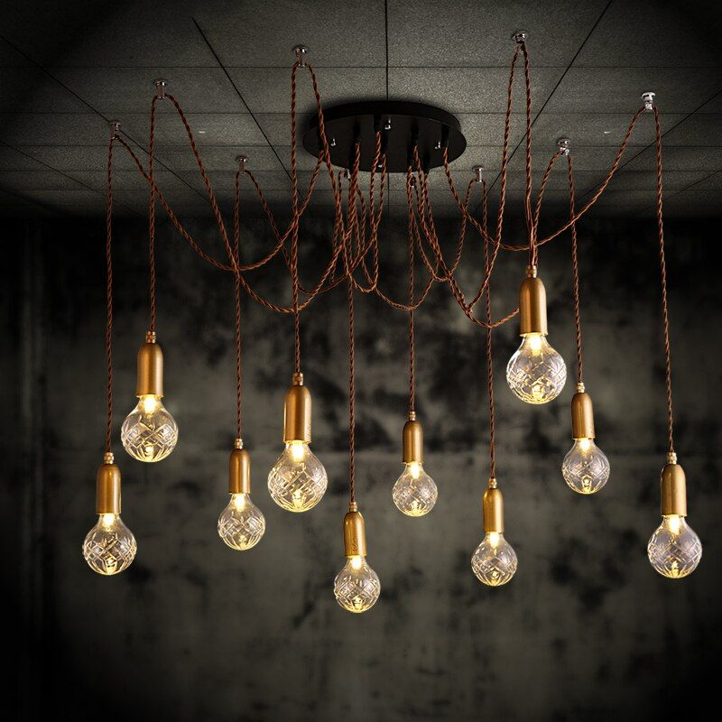 6 head Loft Retro Golden Spider Pendant Lights Adjustable Vintage Pendant Lamps Industrial Ceiling luminaria Edison Light abajur