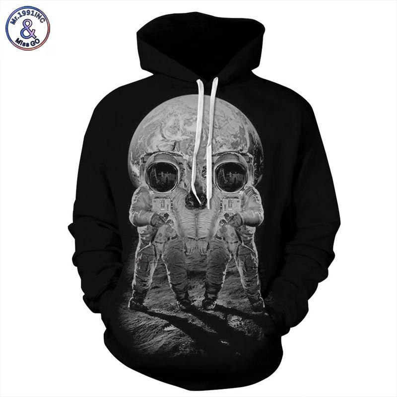 Mr.1991INC Autumn Winter Fashion Men/women Hoodies With Cap Print Astronaut Skull Couple Hooded Hoody 3d Sweatshirts Pullovers