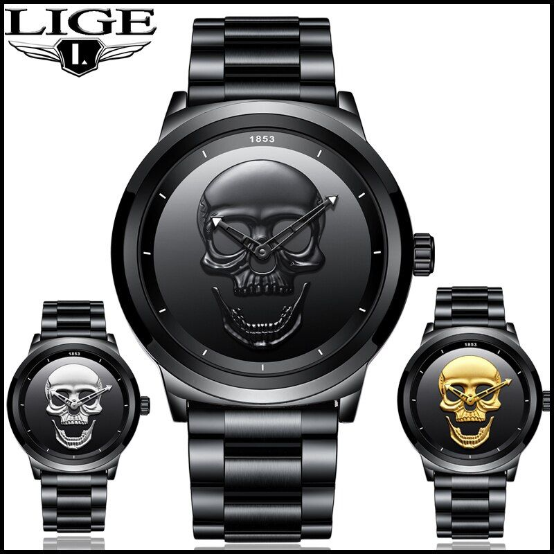 2018 Cool Punk 3D Skull Men Watch Brand LIGE Luxury Steel Quartz Male Watches Waterproof Retro Fashion Gold Black Clock Relogio