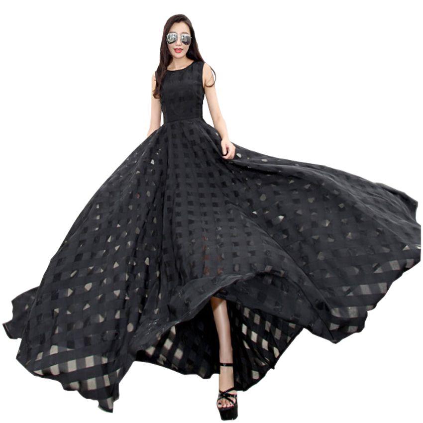 2018 Nouvelles Femmes Robe D'été Élégante Vintage Noir Blanc Organza Sans Manches Décontracté Longue Maxi Robe De Plage De Vacances Fête Vestidos