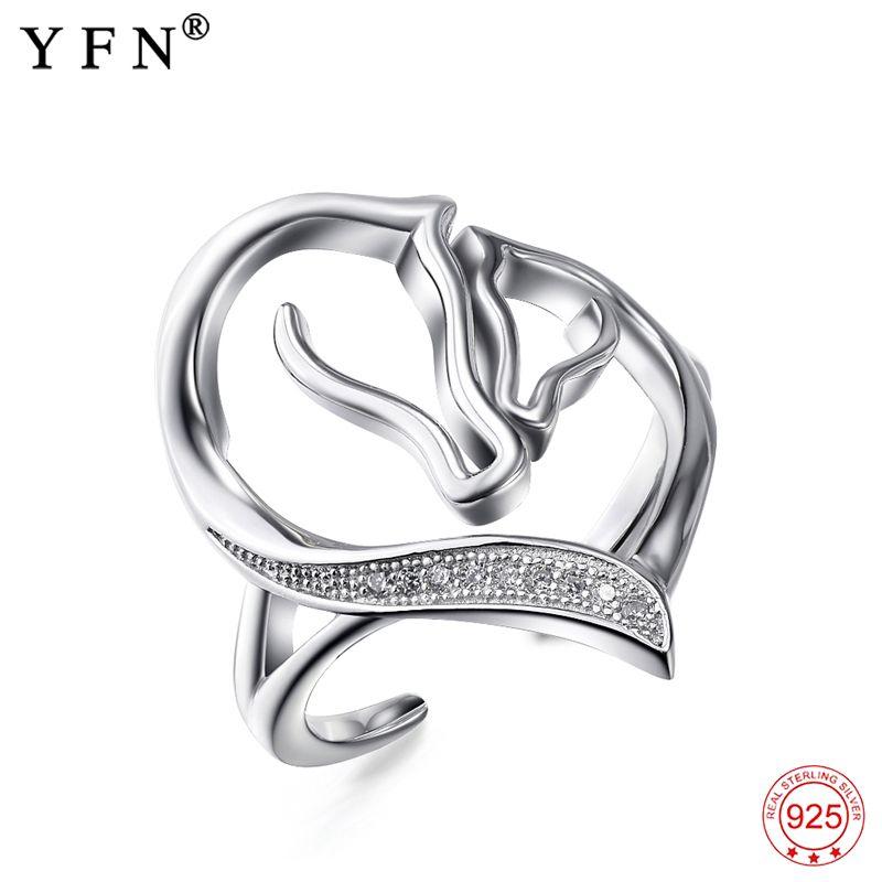 Véritable 925 Sterling argent cubique zircone coeur anneaux taille réglable femmes bijoux argent cheval mère et enfant anneau GNJ0678
