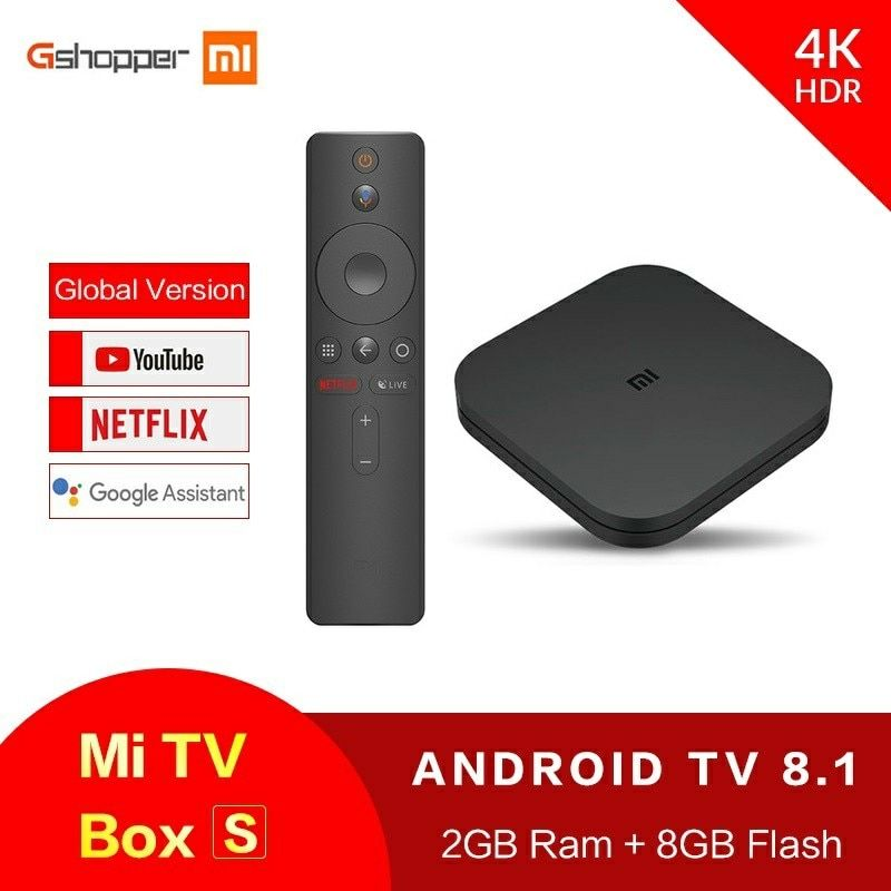 Global Original Xiaomi MI BOX TV BOX S New Arrival Android 8.0 2G/8G Smart Quad Core HDR Movie Set-top Box Multi-language