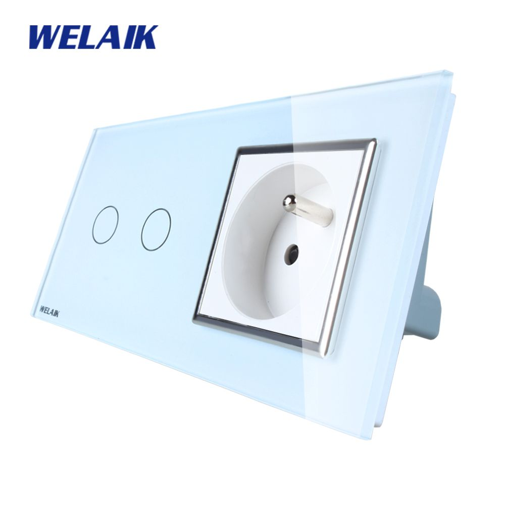 WELAIK Brand 2Frame Crystal Glass Panel Wall Switch EU Touch Switch Screen Wall France Socket 2gang1way AC110~250V A29218FCW/B