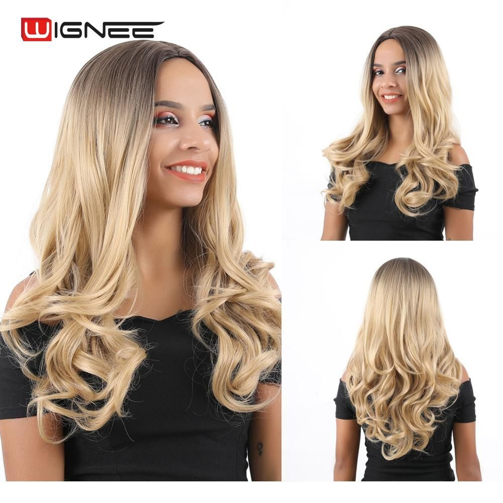 Wignee partie moyenne Ombre Blonde cheveux longs ondulés perruques synthétiques pour noir/blanc femmes haute densité résistant à la chaleur quotidien/fête perruques