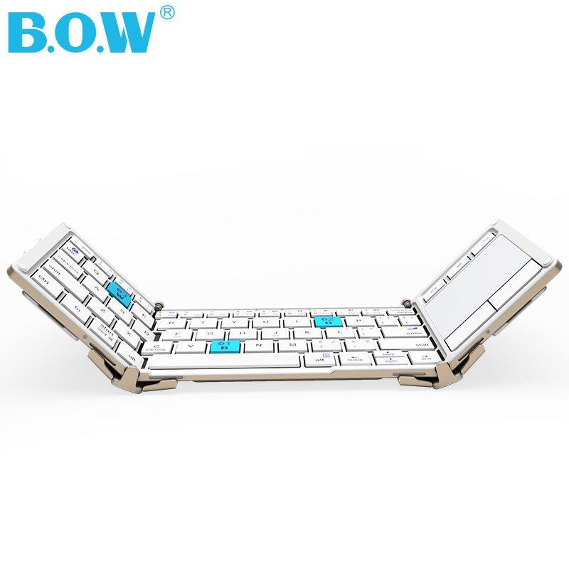 B.O.W Tri-folding Universal Wireless keyboard with Touchpad,Ultra Slim Bluetooth Keyboard+Aluminum Alloy+Carry Pouch