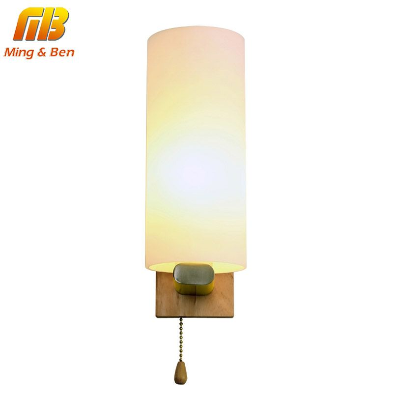 [MingBen] Vintage Wall Lamp Night Light Wood+Frosted Glass E27 Socket AC96-265V For Bed Room Foyer Living Room Decorate the Wall