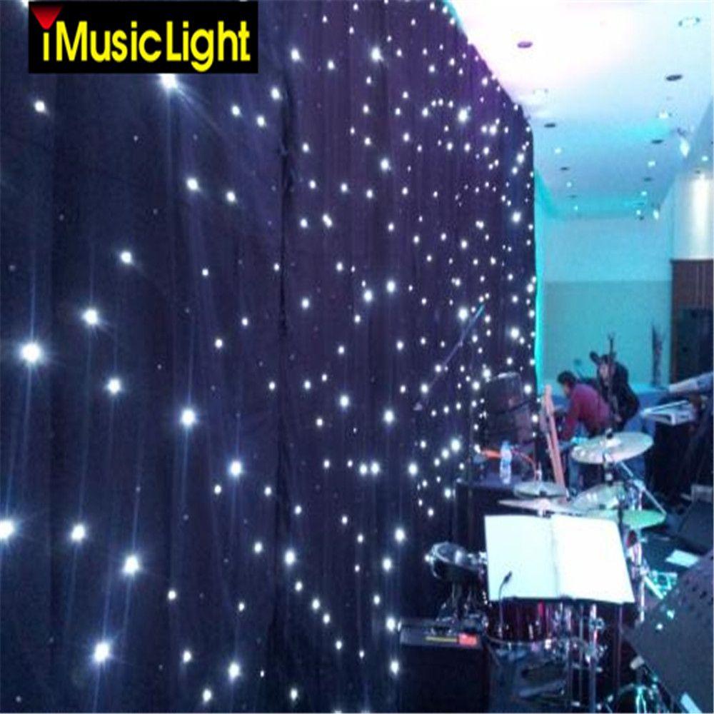 4 m X 8 m LED sternenlicht hintergrund vorhang LED Bühne Hintergrund FÜHRTE Sterne Tuch Weiß Leds + Schwarz Tuch für DJ Wortspiel, bühne Hochzeit