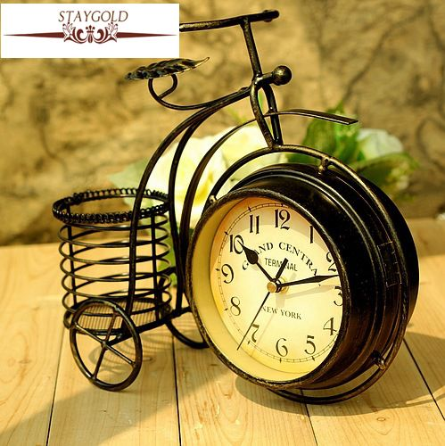 Wrought Iron Bicycle Table Clock Rural Double-sided Quiet Home Sitting Room Decorative Table Clocks Desk Home Decor 28*24*8cm