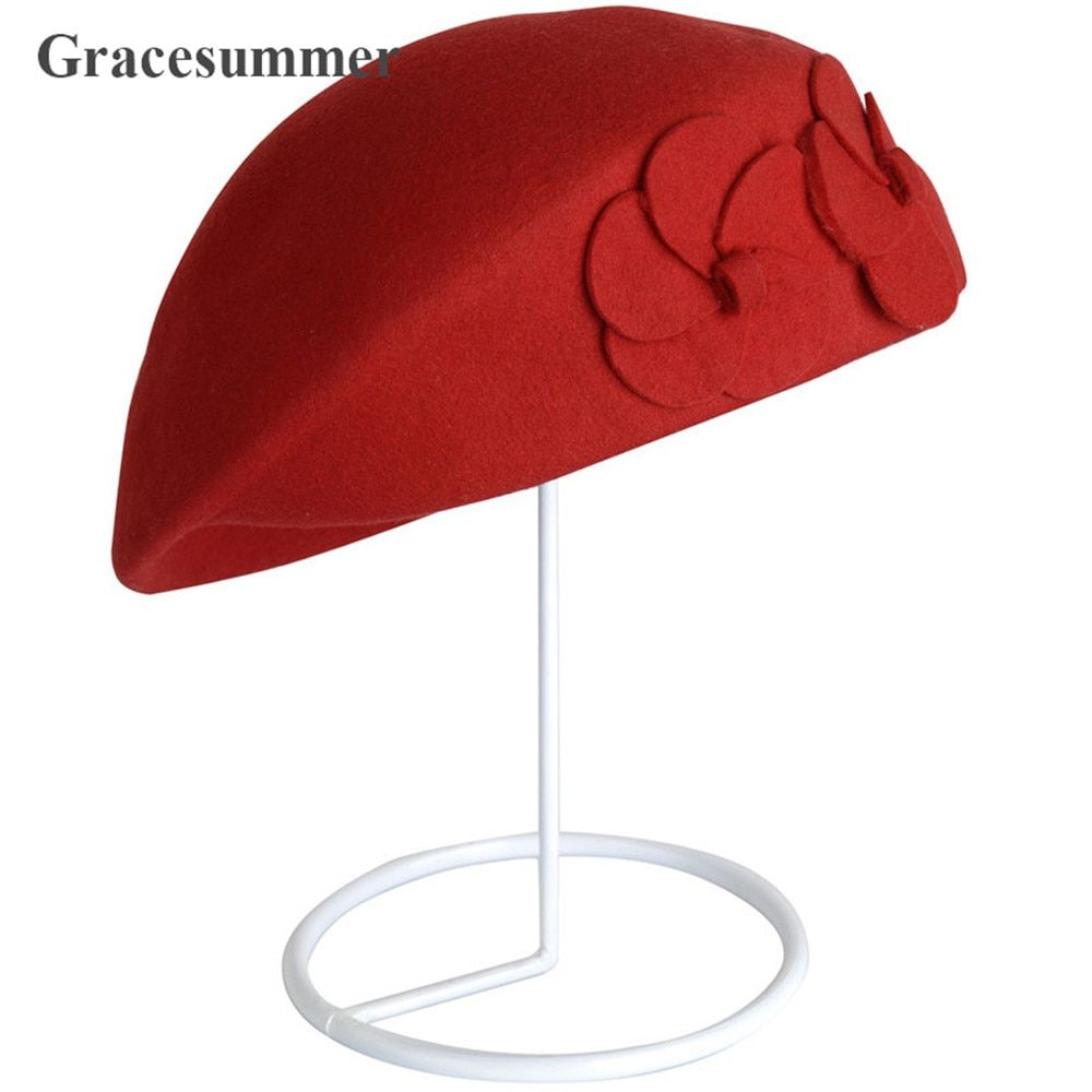 Korean Cute Women Fashion Double Flower Winter Wool hat beret Vintage British Style Felt Princess Hat Cap top quality beret cap