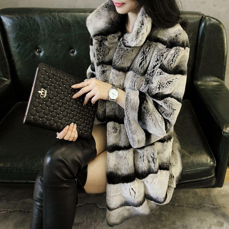 2015 women's real chinchilla dyed rex rabbit fur coat