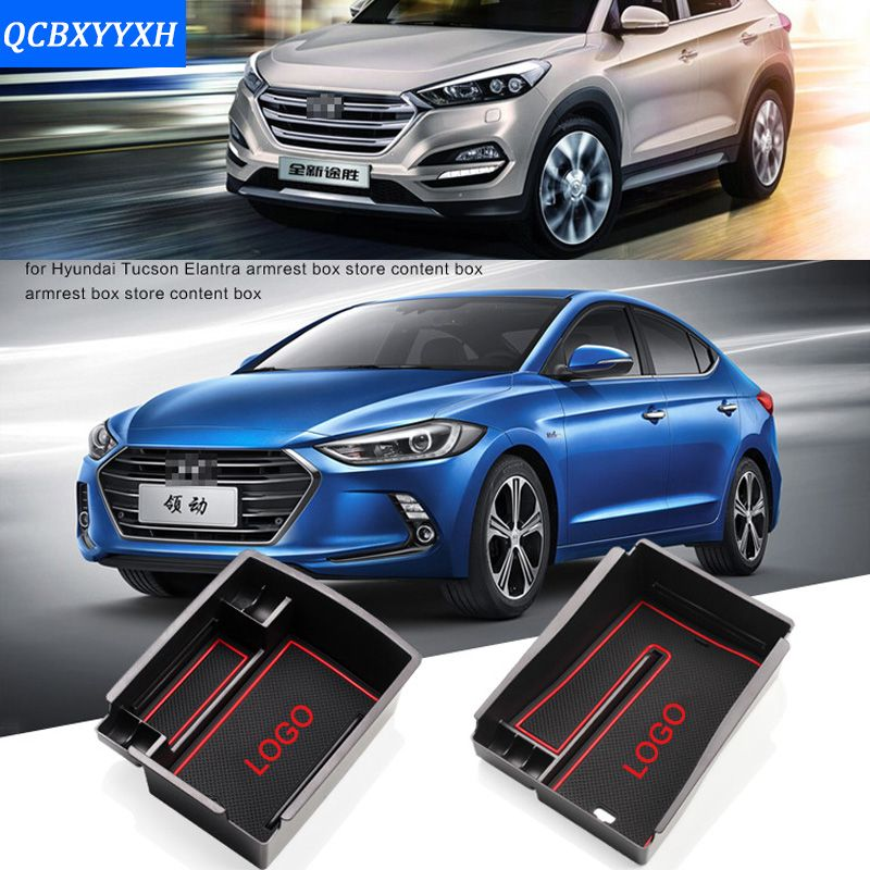 Styling For Hyundai Elantra Tucson 2015-2017 Car Center Console Armrest Storage Box Covers Interior Decoration Auto Accessories